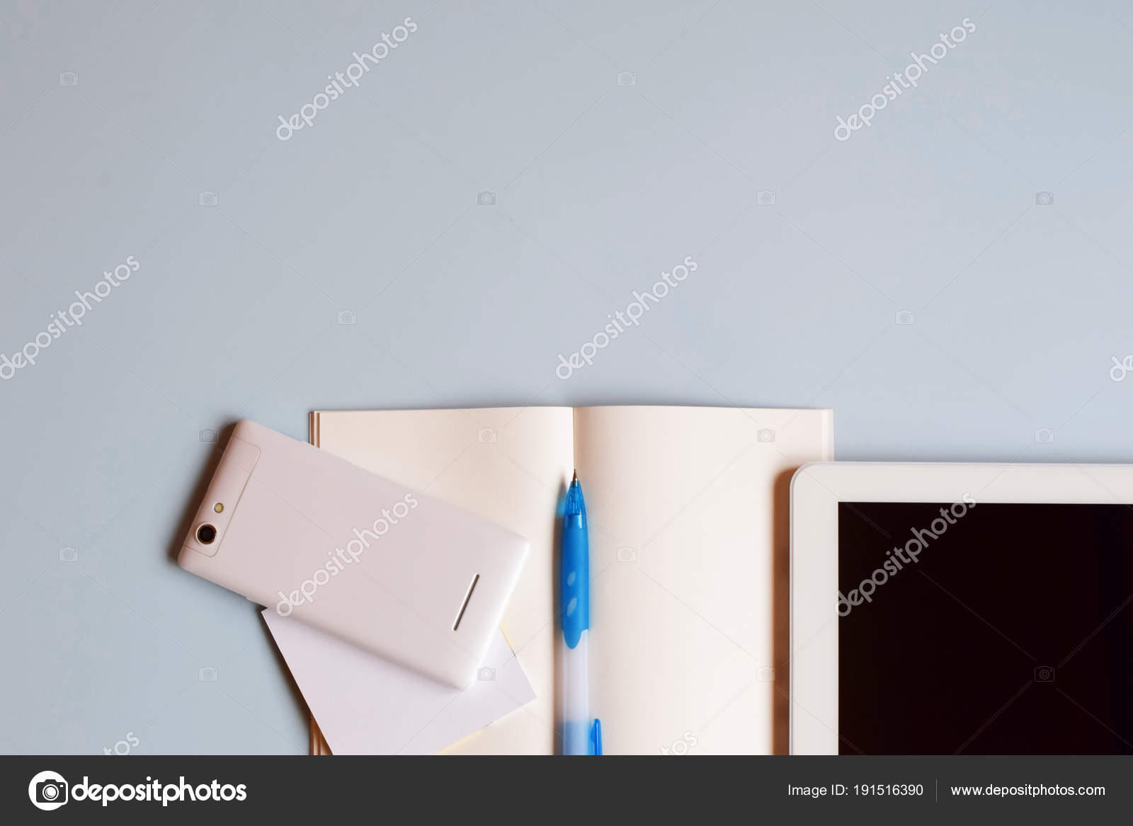 Office Desk Table Notebook Smart Phone Tablet Pen Top View Stock Photo C Ingae 191516390
