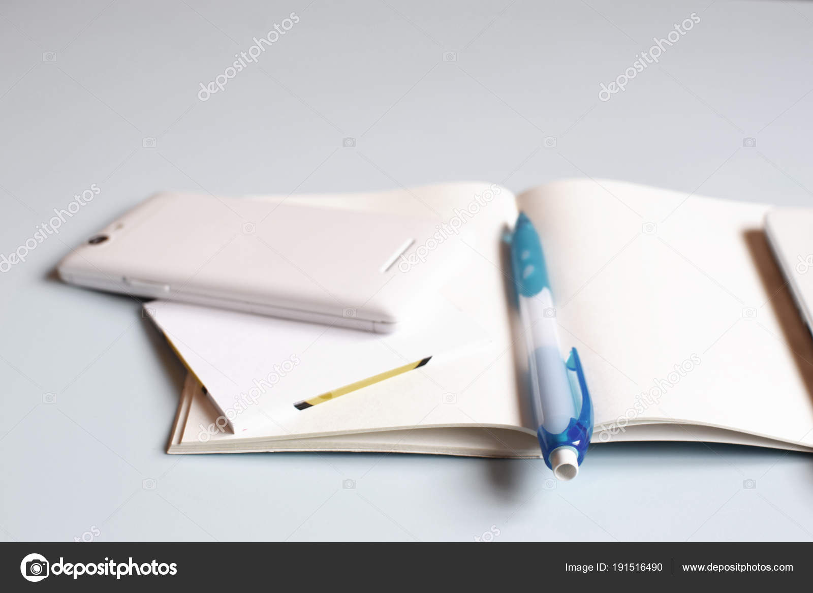 Office Desk Table Notebook Smart Phone Tablet Pen Top View Stock Photo C Ingae 191516490