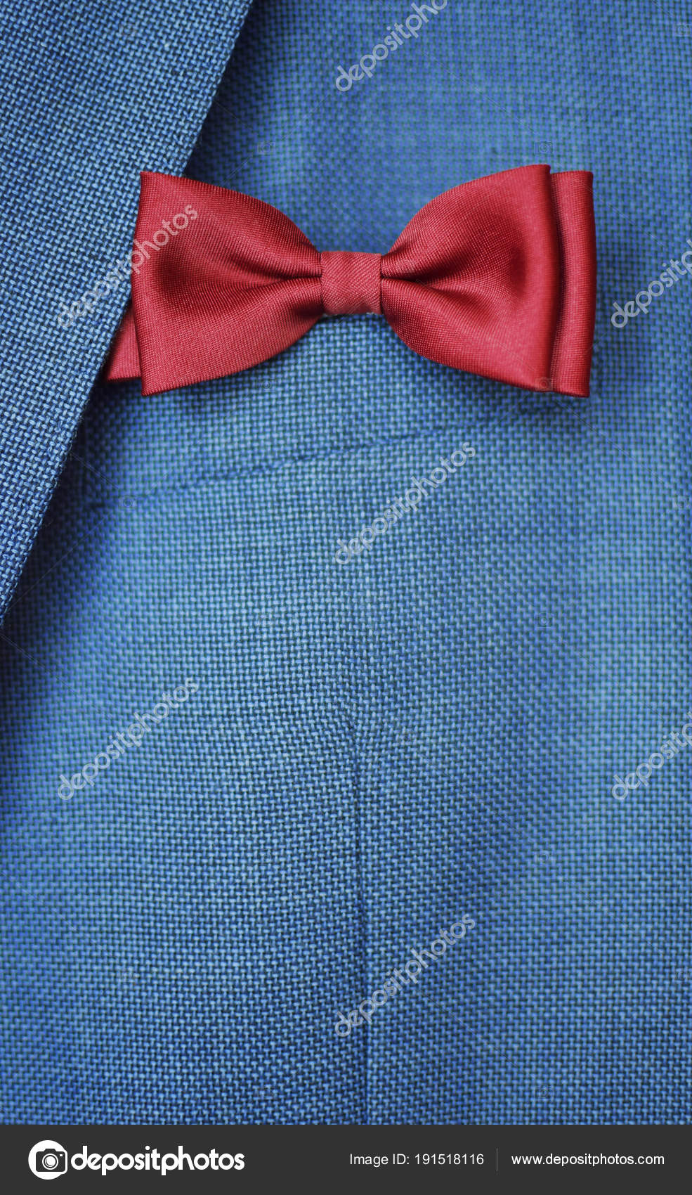Red Bow Tie Blue Suit Jacket Background Happy Fathers Day — Stock ...