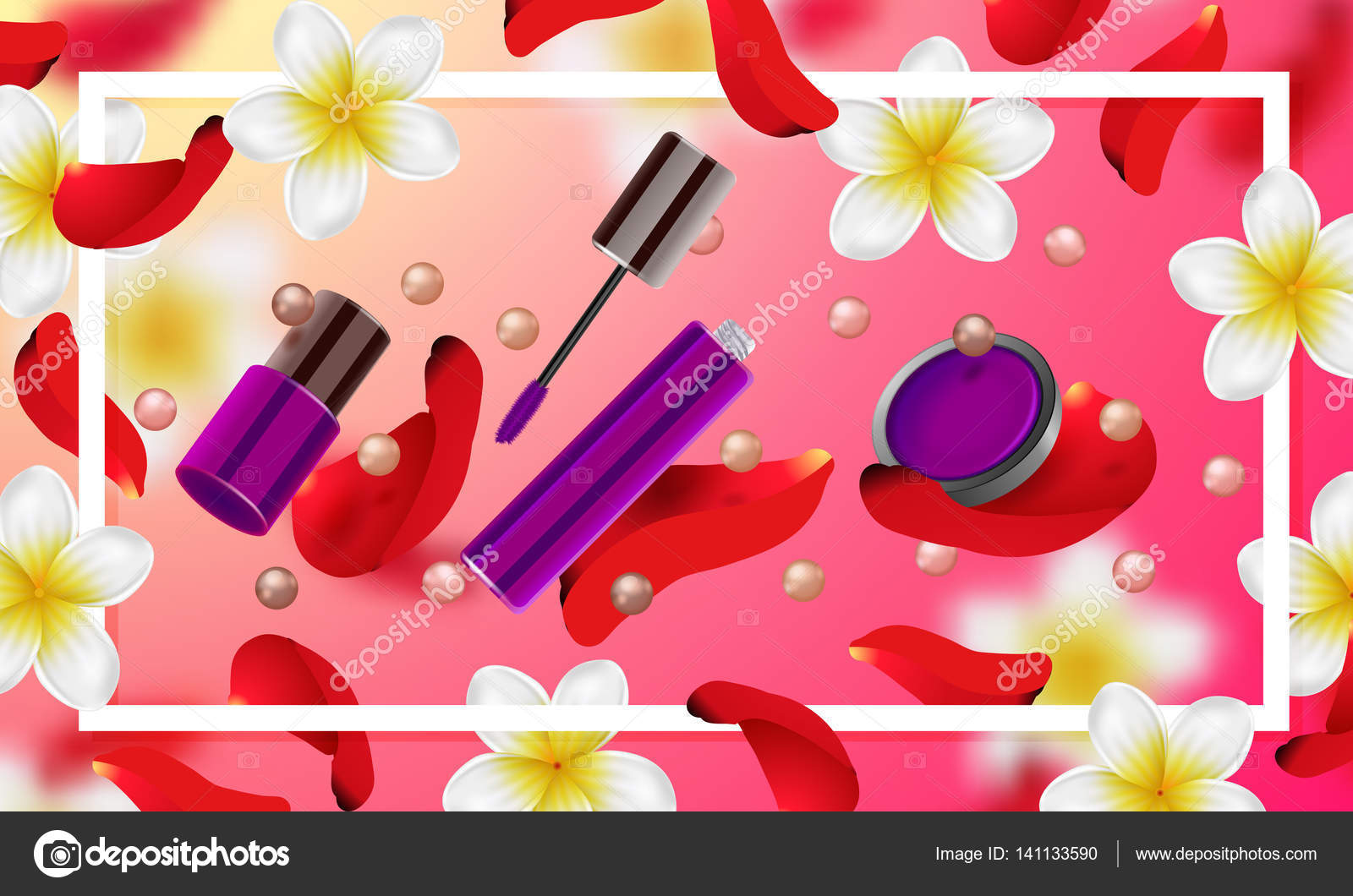 3dae3b2d137e1 Decorative cosmetics make up accessories beauty store. Summer or spring  background with tropical flowers and rose petals– stock illustration
