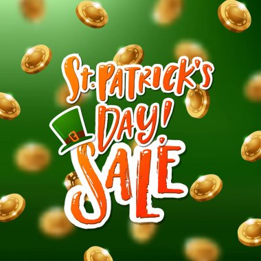 Hand drawn calligraphy Happy St. Patrick's Day SALE poster