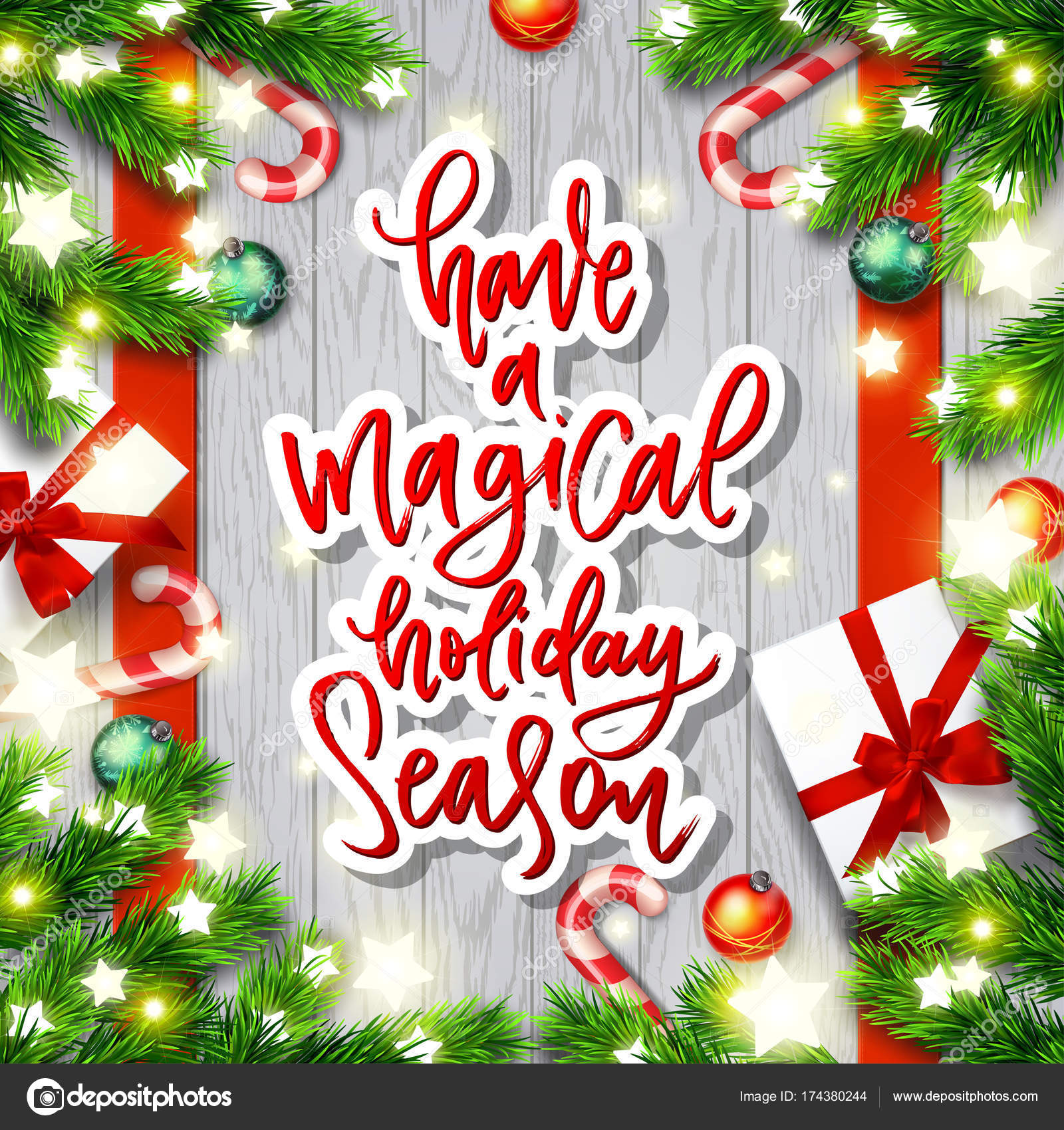 merry christmas greeting card happy new year xmas vector background hand drawn calligraphy have a magical holiday season vector by wywenka