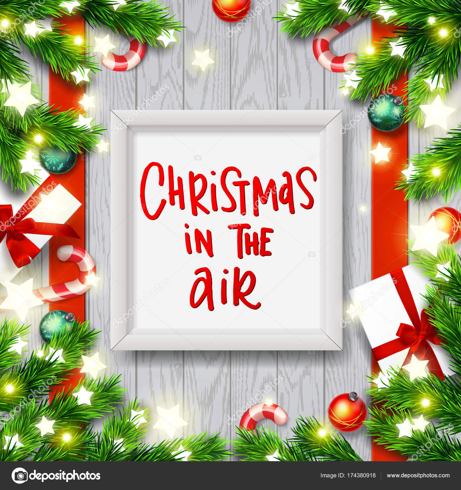 Christmas In The Air.Greeting Card With Wreath Xmas Vector Background Hand