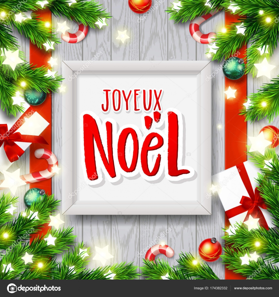 Merry Christmas greeting card with greetings in french language ...
