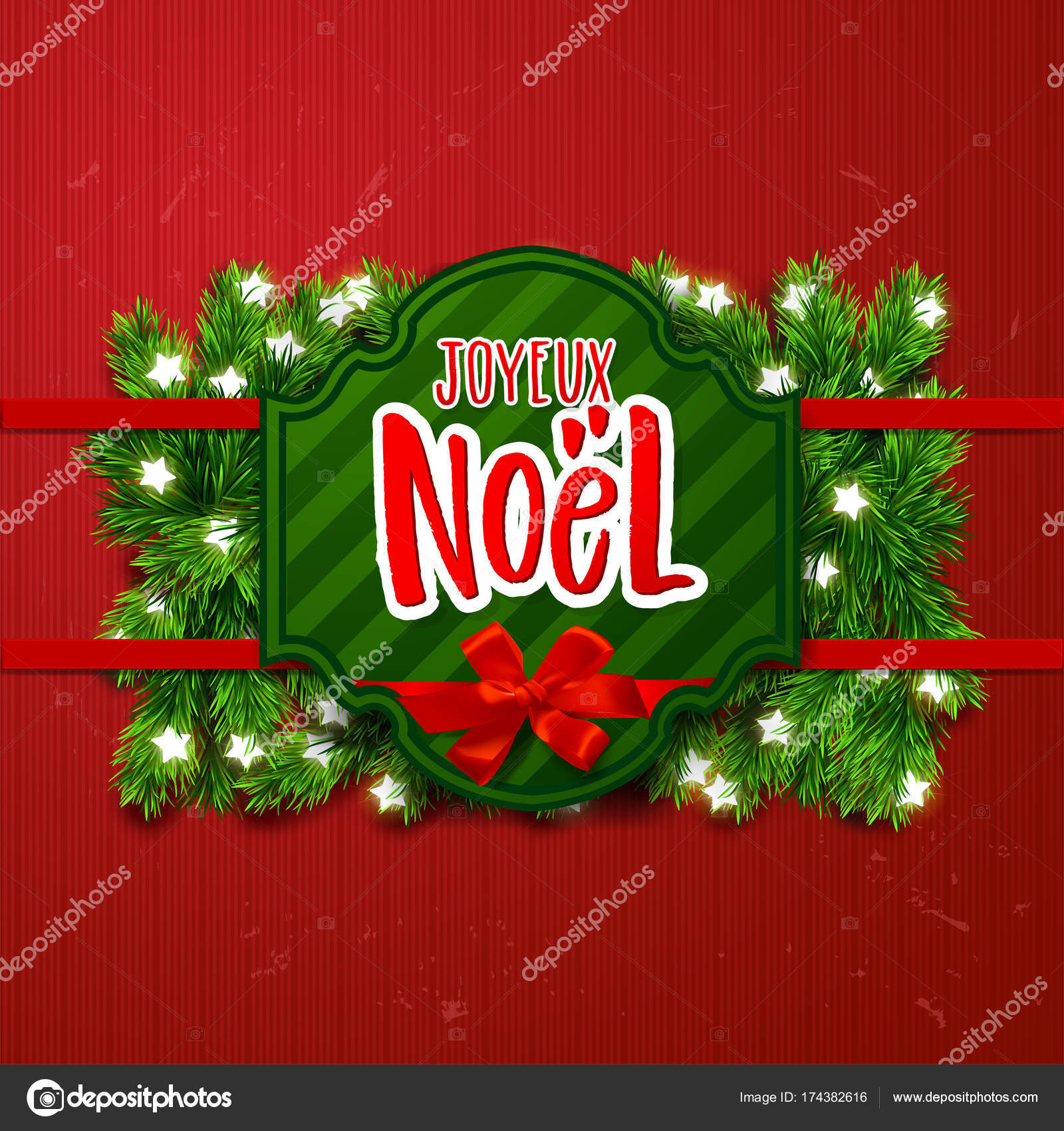 Merry Christmas Greeting Card With Greetings In French Language