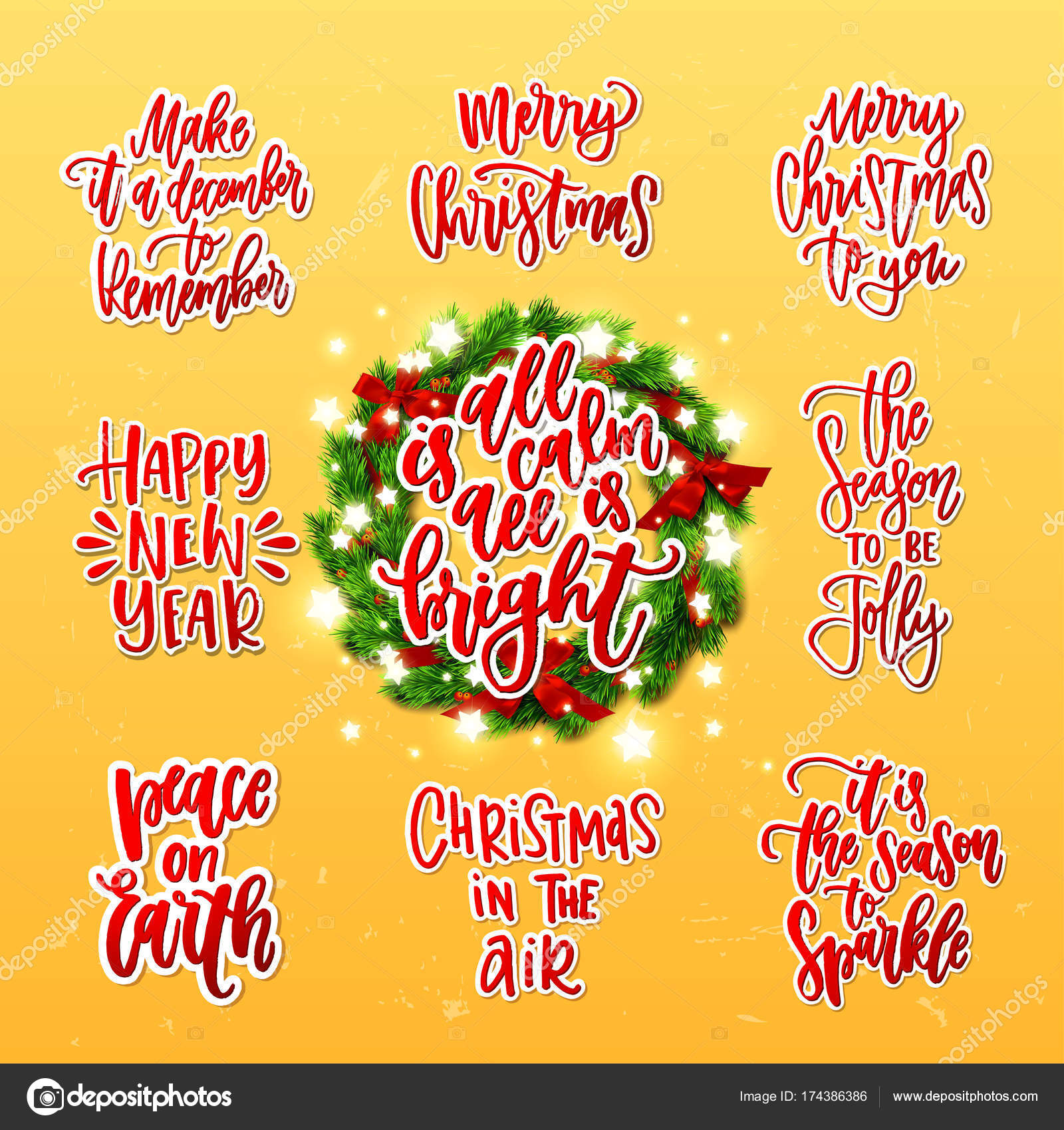 Merry Christmas decoration greeting cards collection. Xmas vector ...
