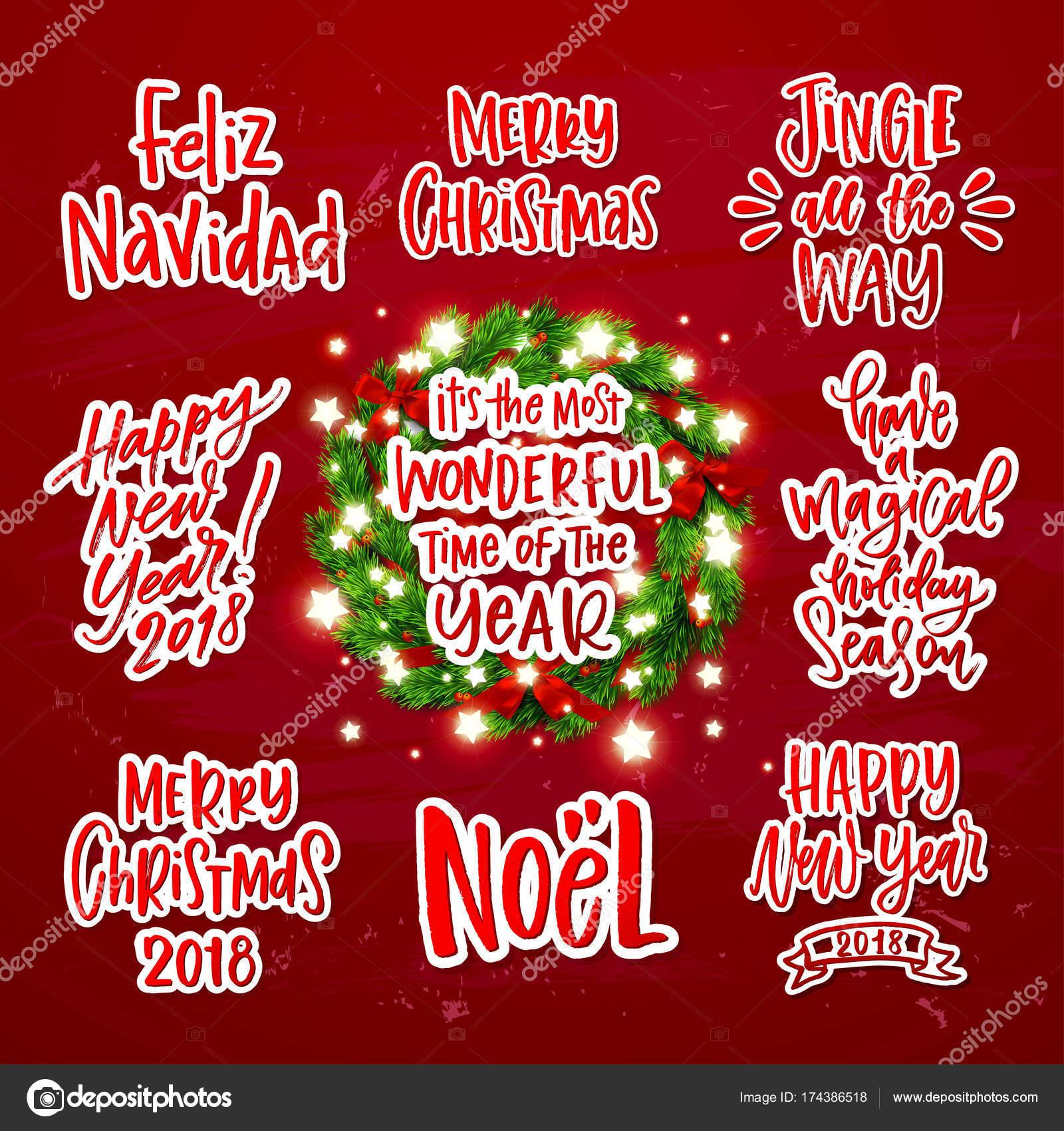 Frohe Weihnachten Dekoration Grußkarten Kollektion. Xmas Vektor ...