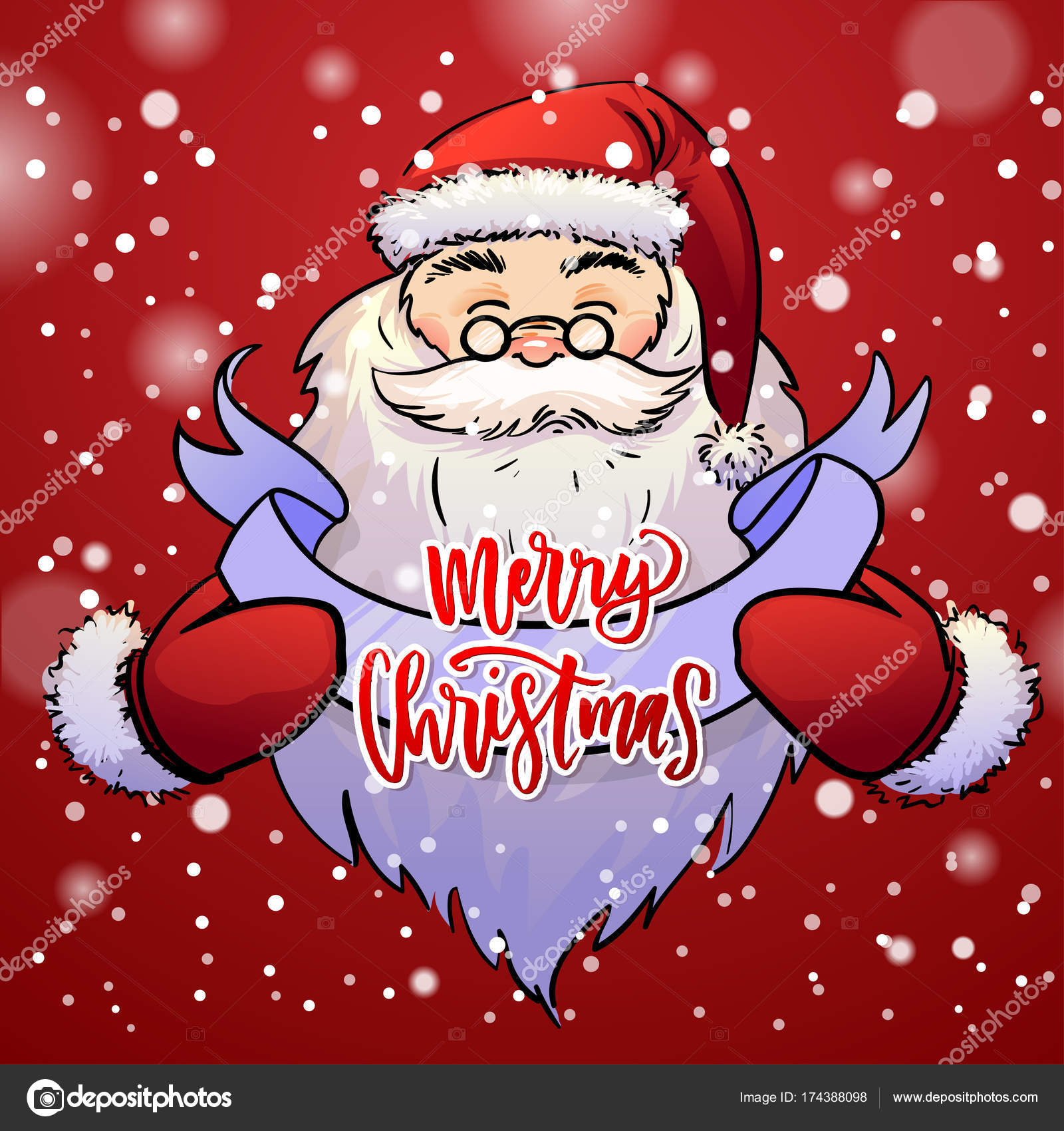 Santa claus holds christmas greeting card with concept handwritten santa claus holds christmas greeting card with concept handwritten merry christmas xmas vector background m4hsunfo