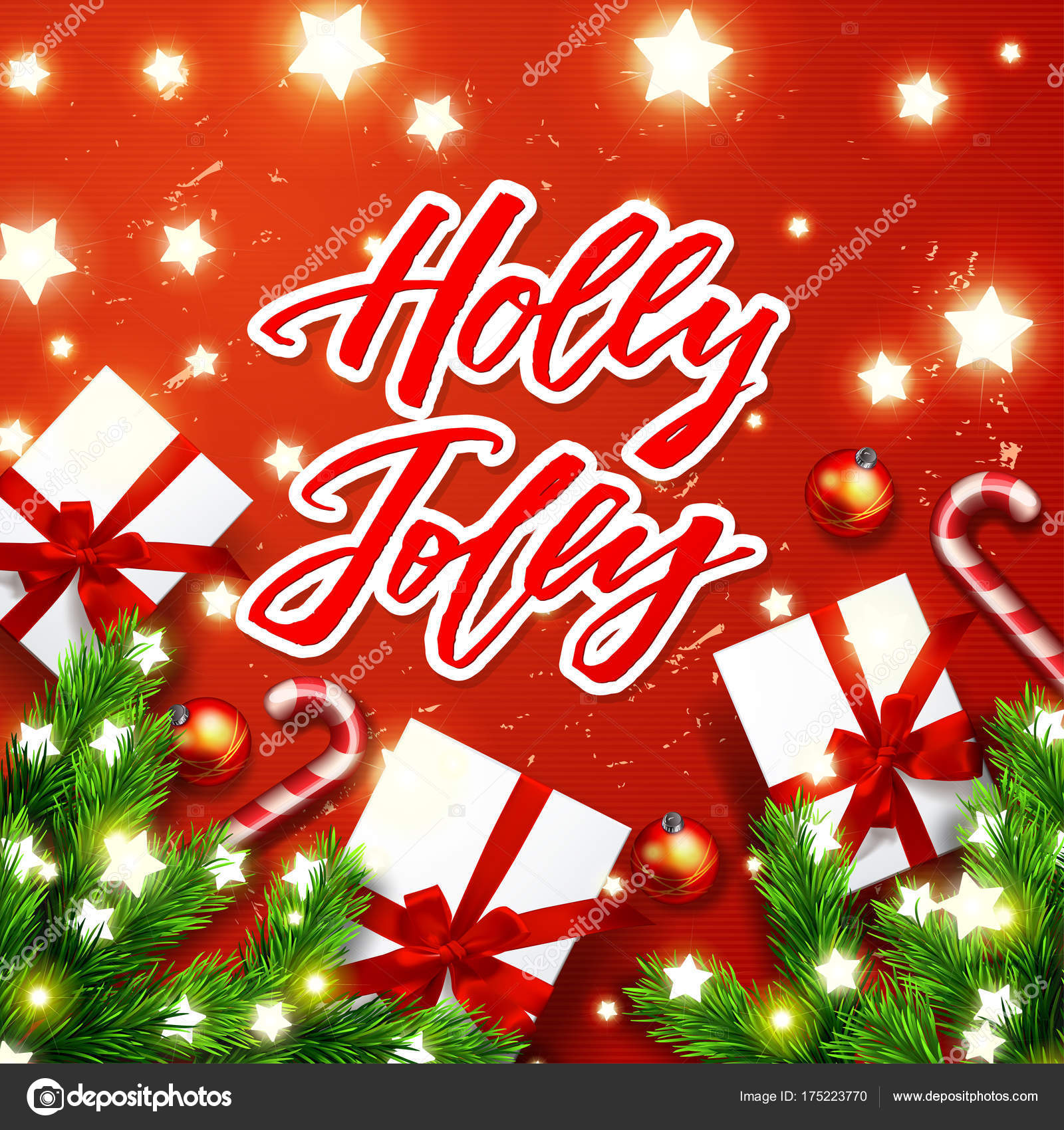 Christmas Greeting Card Happy New Year Xmas Vector Background Hand