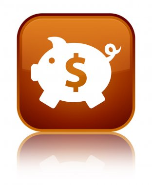 Piggy bank (dollar sign) icon shiny brown square button