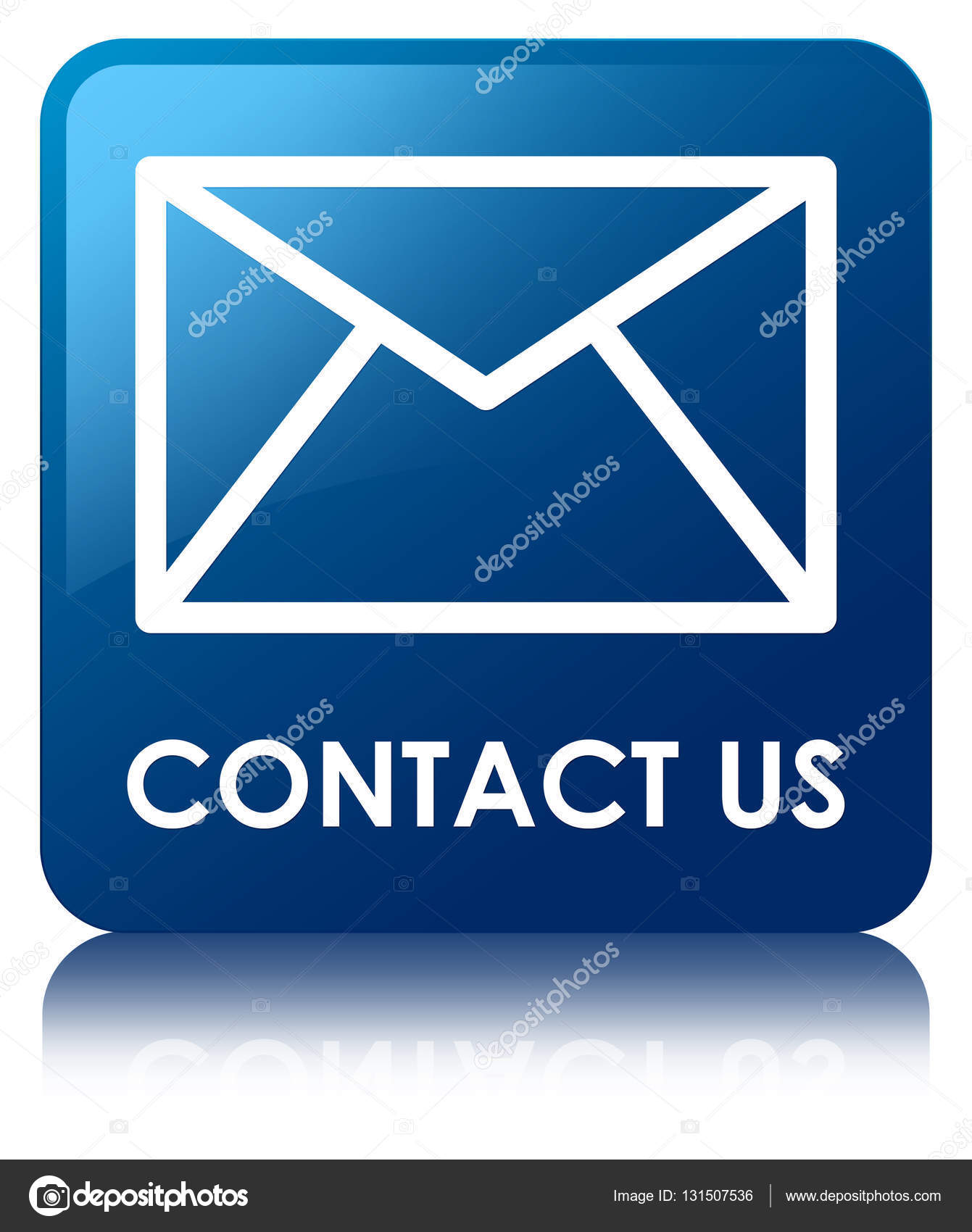 Kontakt E Mail Symbol Blaue Quadrat Taste Stockfoto Frdesign