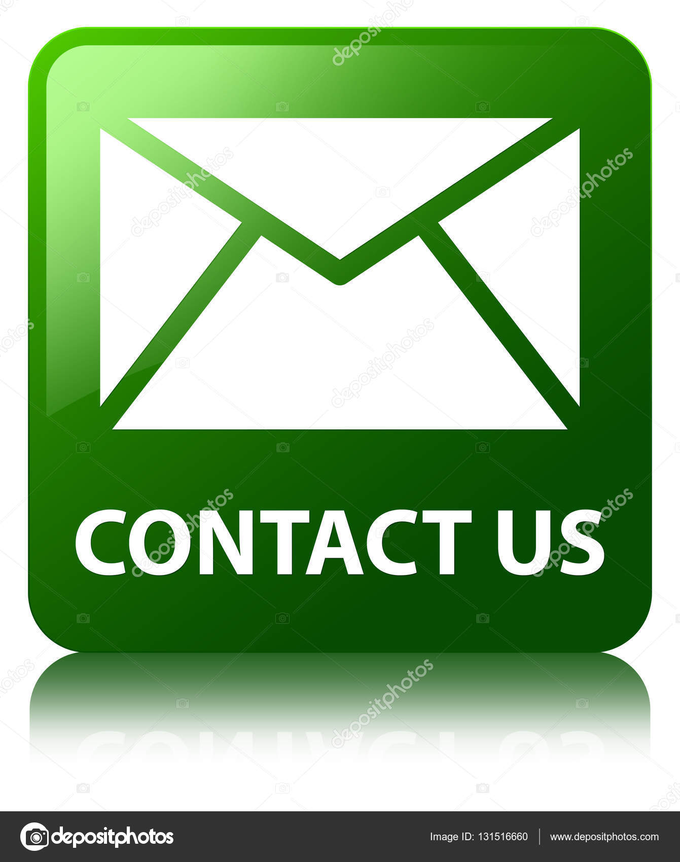 Kontakt E Mail Symbol Grne Quadrat Taste Stockfoto Frdesign
