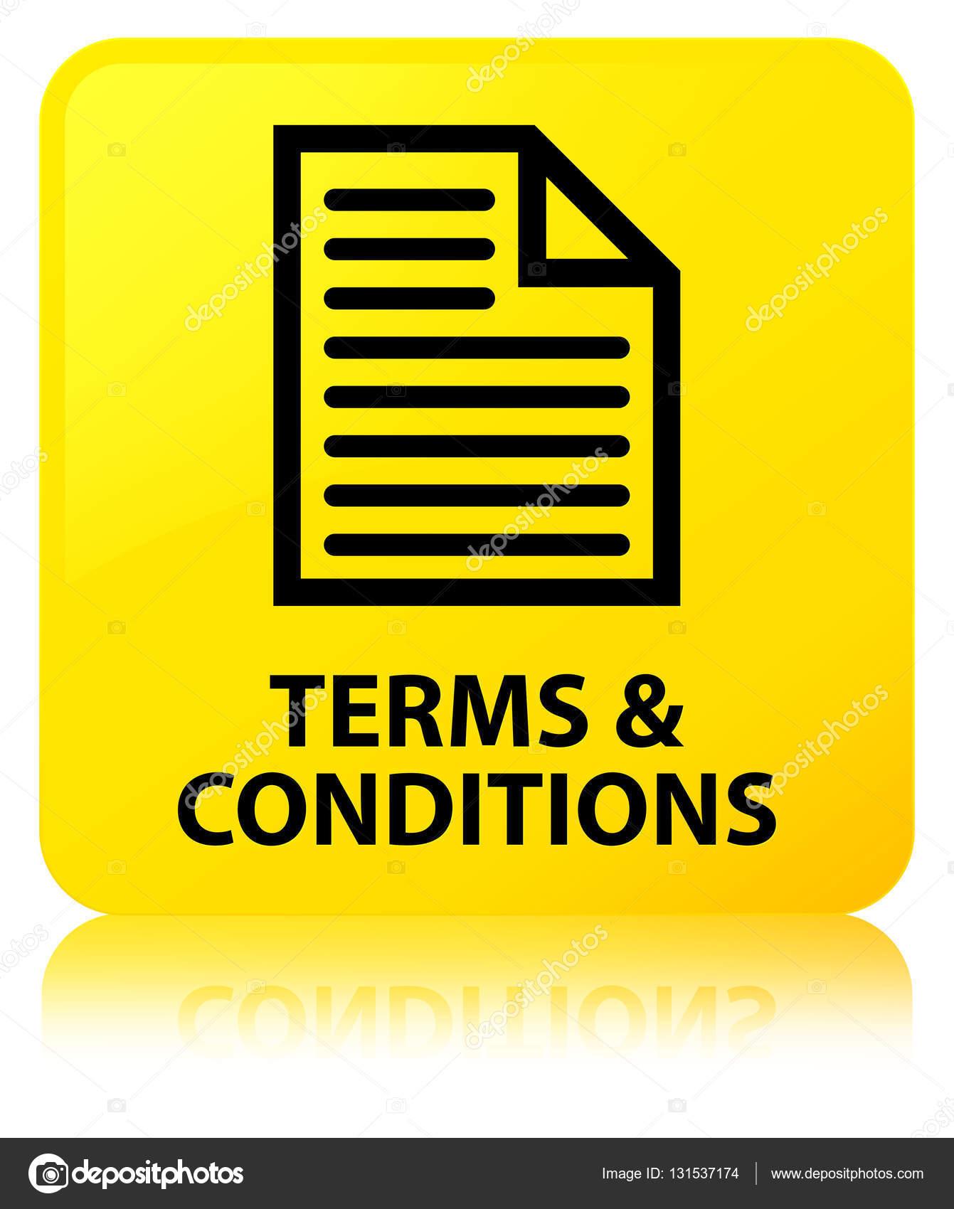 Általános szerződési feltételek (oldal ikon) sárga négyzet gomb — Stock Fotó f7c868e069