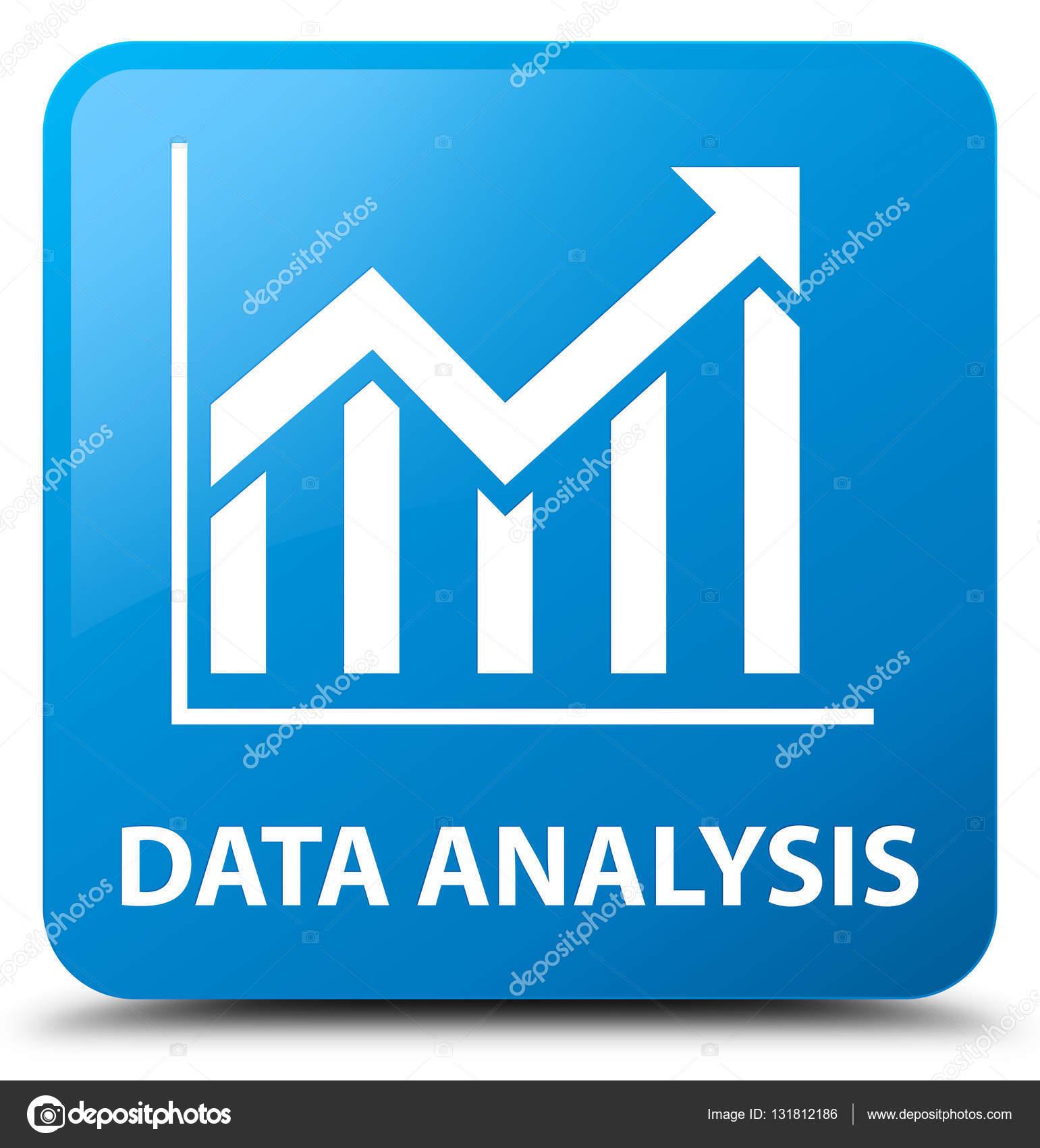 Data analysis (statistics icon) cyan blue square button