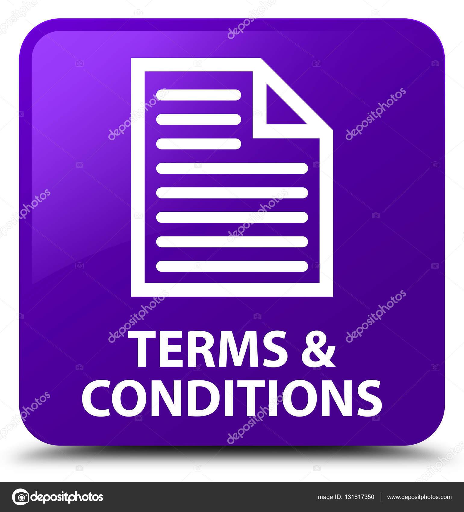 Általános szerződési feltételek (oldal ikon) lila négyzet gomb — Stock Fotó 03b1f83bfc