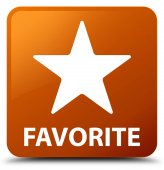 Čtvercové tlačítko oblíbené (ikonu hvězdičky) hnědá