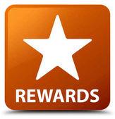 Čtvercové tlačítko odměny (ikonu hvězdičky) hnědá