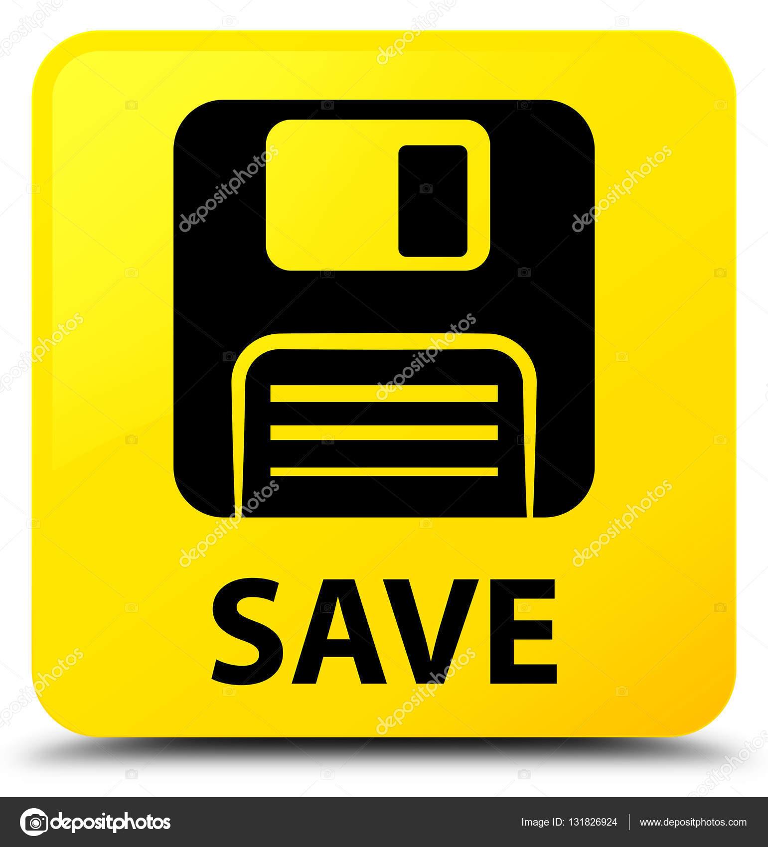 save floppy disk icon yellow square button � stock photo