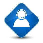 Customer care icon elegant blue diamond button