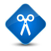 Scissors icon elegant blue diamond button