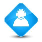 Customer care icon elegant cyan blue diamond button