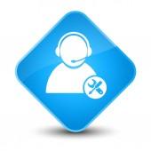 Tech support icon elegant cyan blue diamond button