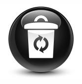 Koše ikonu sklovité černé kulaté tlačítko
