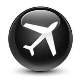 Letadlo sklovité černé kulaté tlačítko