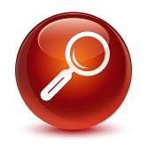 Zvětšovací sklo ikony sklovité hnědé kulaté tlačítko