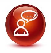 Sociální sítě ikony sklovité hnědé kulaté tlačítko