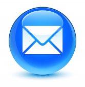 E-mailové ikony sklovité azurová modrá kulaté tlačítko