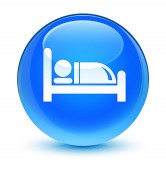 Hotel bed icon glassy cyan blue round button