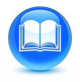 Könyv ikon üveges cián kék kerek gomb