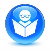 E-Learning ikonu sklovité azurová modrá kulaté tlačítko