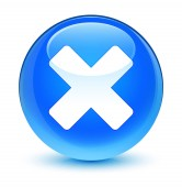 Ikona sklovité azurová modrá kulaté tlačítko zrušit