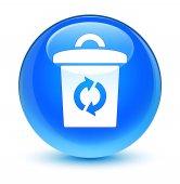 Tlačítko kulaté koše ikonu sklovité azurová modrá