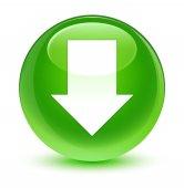 Töltse le a nyíl ikon üveges zöld kerek gomb