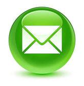 Elektronikus levél ikon üveges zöld kerek gomb