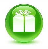 Ajándék doboz ikon üveges zöld kerek gomb