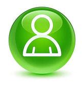 Tag ikon üveges zöld kerek gomb