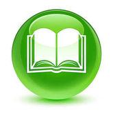 Könyv ikon üveges zöld kerek gomb