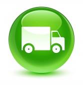 Szállítási teherautó ikon üveges zöld kör gomb