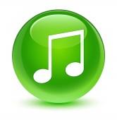 Hudební ikona sklovité zelené kulaté tlačítko