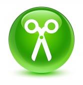 Nůžky sklovité zelené kulaté tlačítko