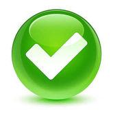 Érvényesít ikon üveges zöld kerek gomb
