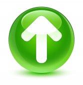 Nahrát šipku ikony sklovité zelené kulaté tlačítko