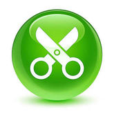 Olló ikon üveges zöld kerek gomb