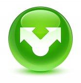 Podíl na ikonu sklovité zelené kulaté tlačítko