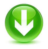 Stáhnout šipku ikony sklovité zelené kulaté tlačítko