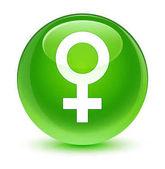 Znak pro ženu ikonu sklovité zelené kulaté tlačítko